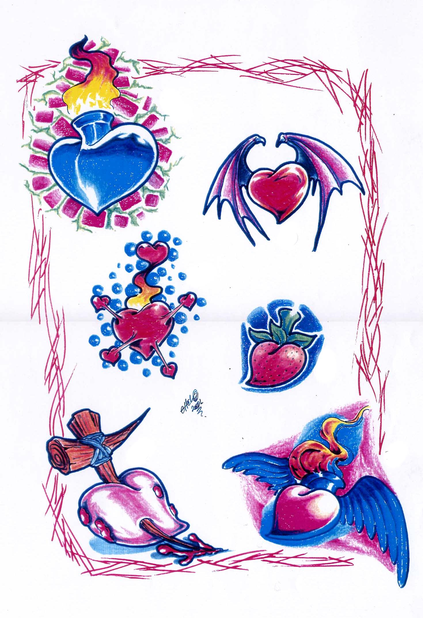 Heart tattoo designs by Chel.