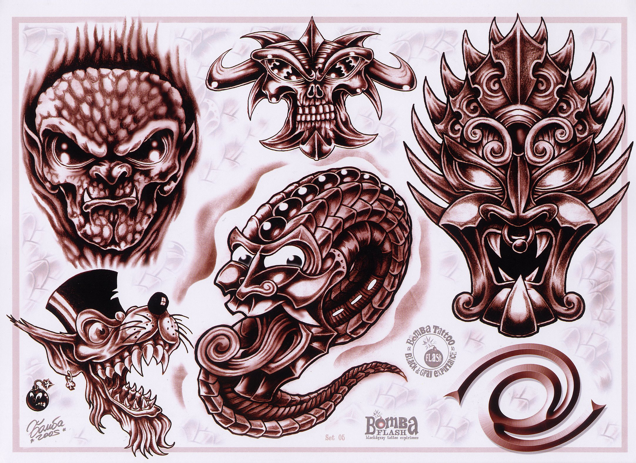 Monster tattoo designs by Bomba.