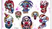 Clown tattoo designs by Dragon Azul.
