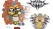 Skull tattoo designs by Luca Brusa.