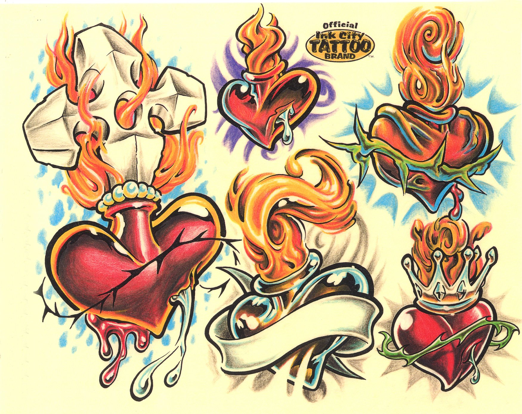 Heart tattoo designs by Ink City.