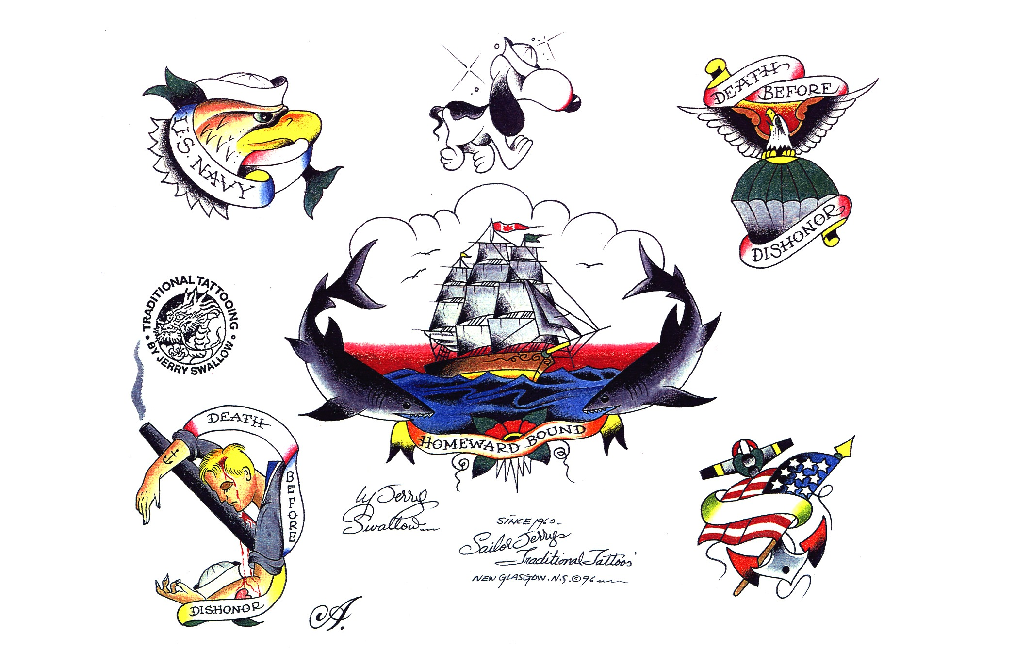 Tattoo designs by Sailor Jerry.