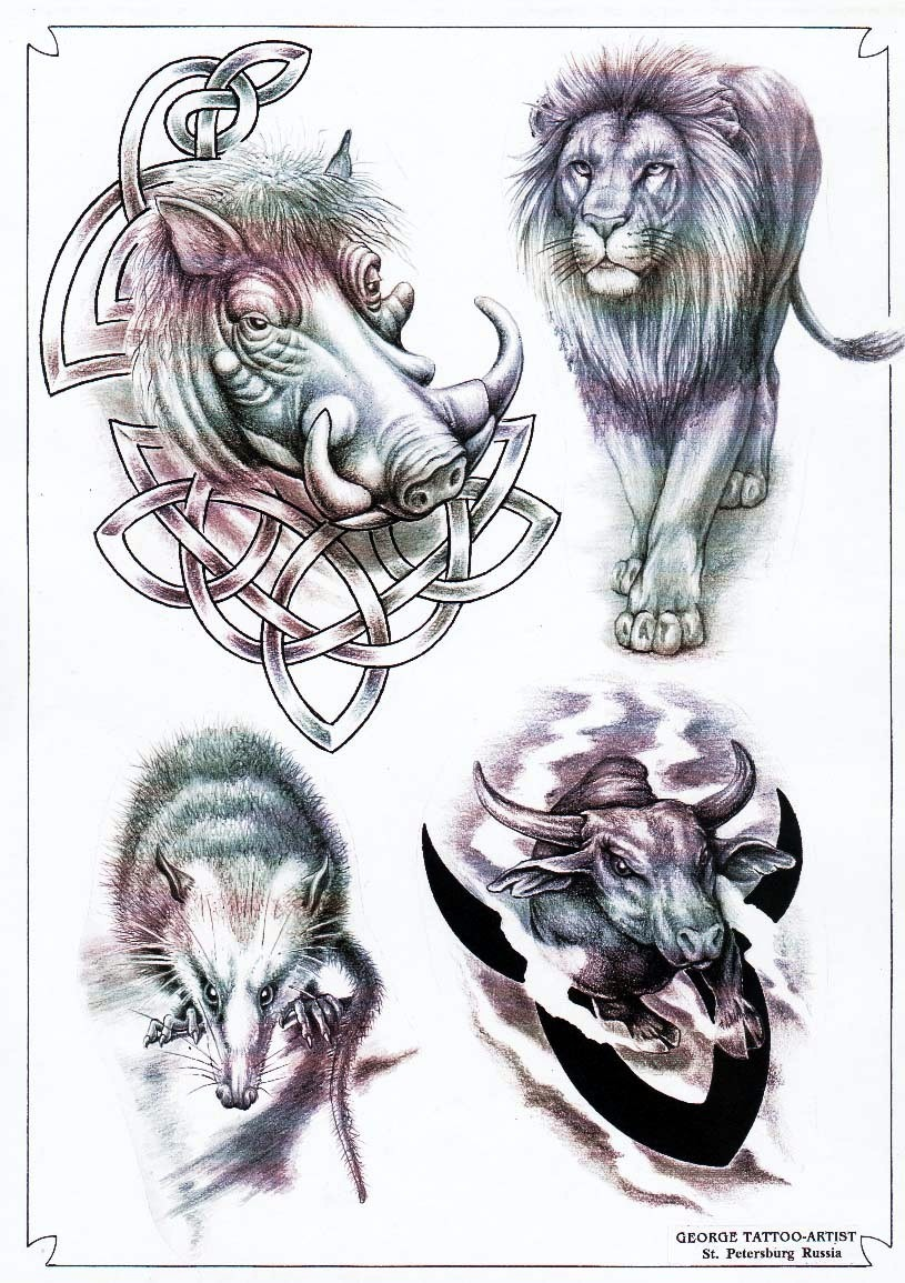 Animal tattoo designs by George.