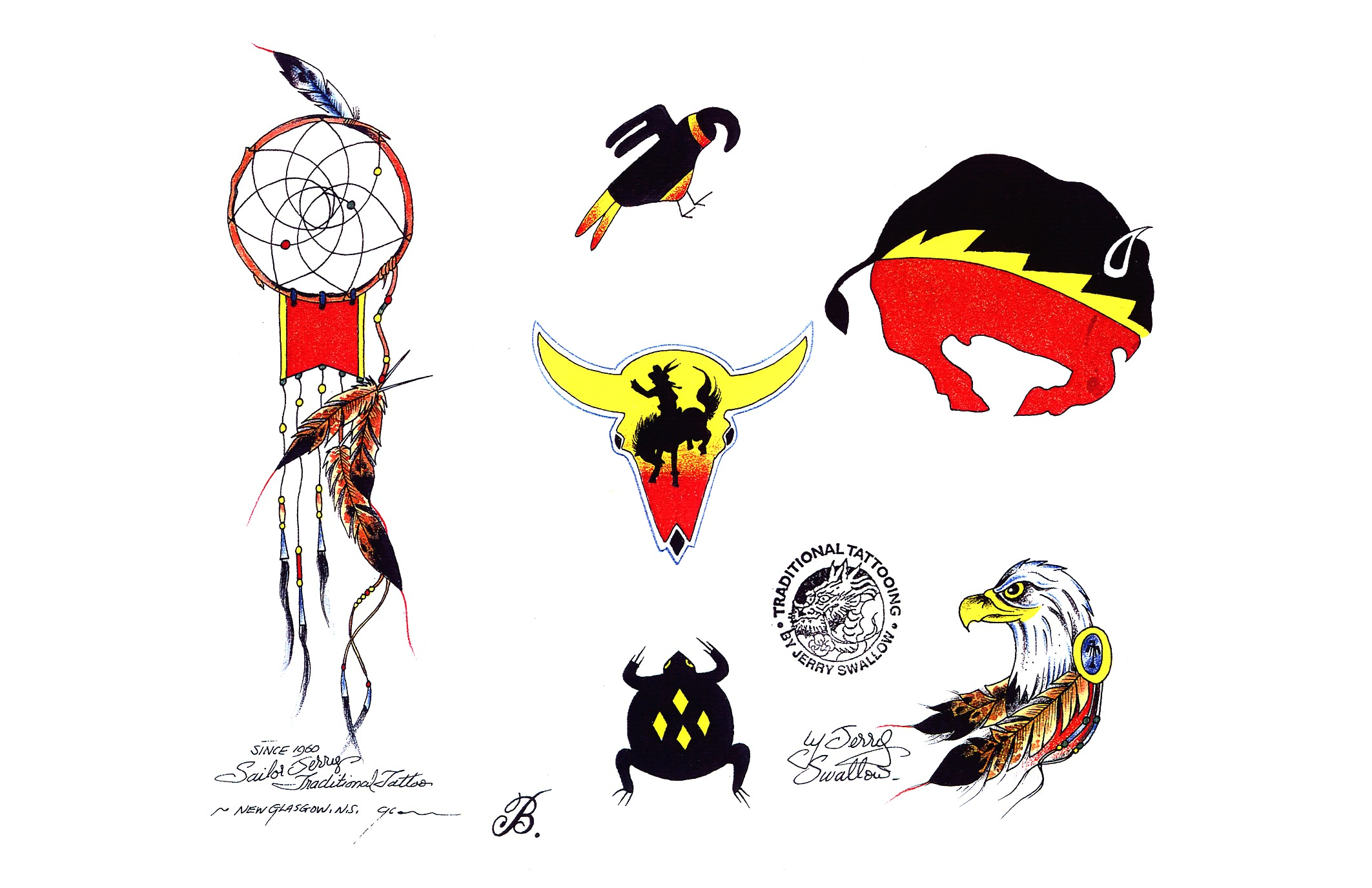 Tattoo designs by Sailor Jerry Swallow.